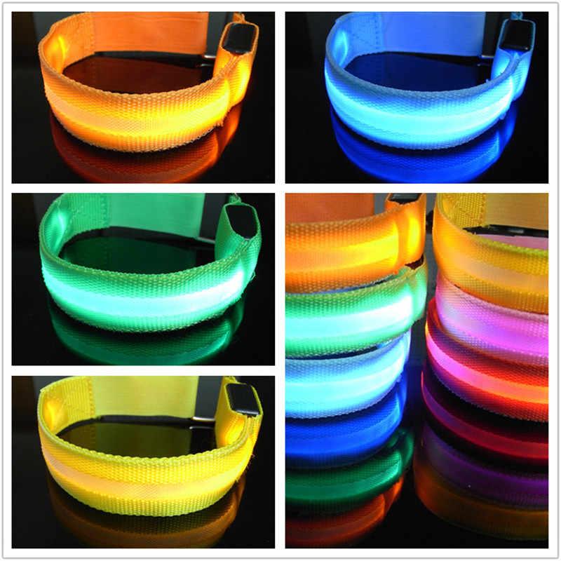 LED 팔 밴드 조명 자전거 LED 빛나는 완장 안전 스케이트 파티 슈팅 휴대용 완장 램프 Pratable 조명