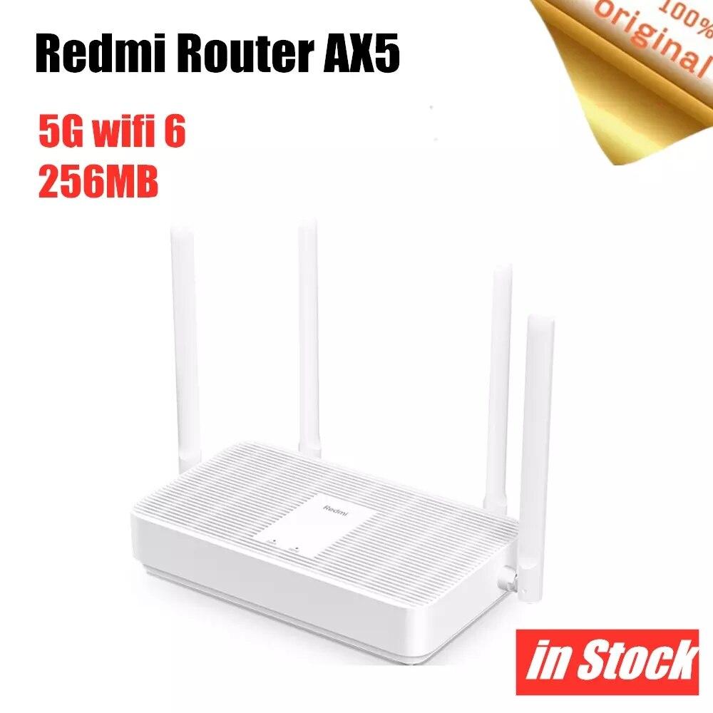 Маршрутизатор Xiaomi Redmi AX5 Wifi 6 2,4 ГГц/5,0 ГГц, двухчастотный сетчатый беспроводной маршрутизатор, Wi-Fi ретранслятор, 4 антенны с высоким коэффицие...