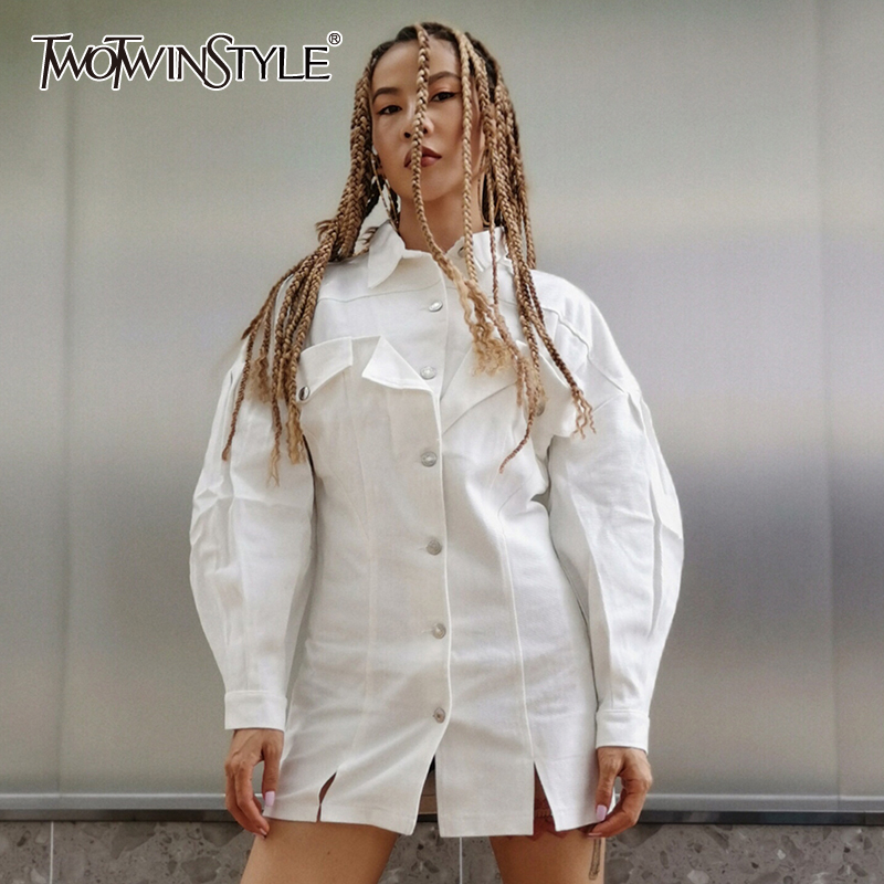TWOTWINSTYLE Elegant Jean Jacket For Women Lapel Collar Lantern Long Sleeve Split Slim Summer Coats Female 2020 Fashion New