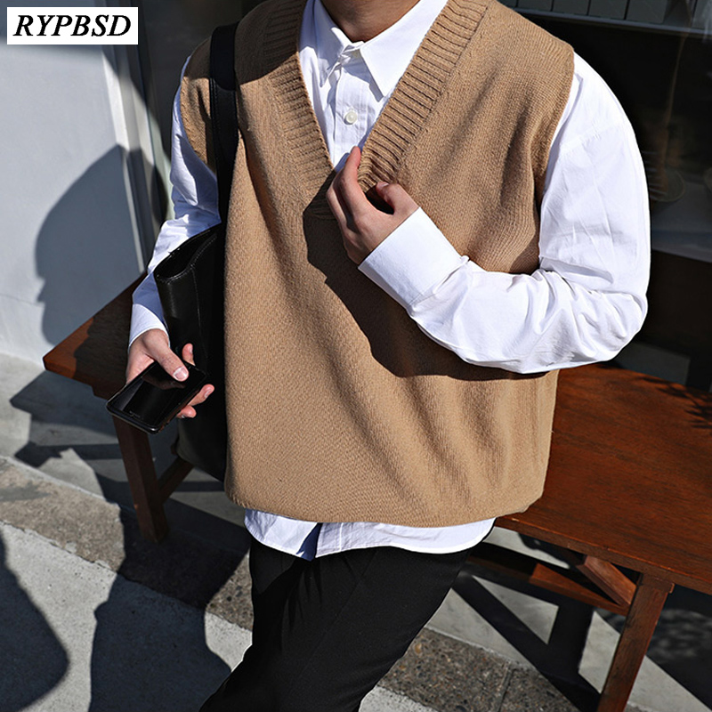 Cashmere Men Sweater Vest Autumn 2019 New High Quality V-Neck Woolen Pullover Sleeveless Knitted Men Sweater Warm Clothing