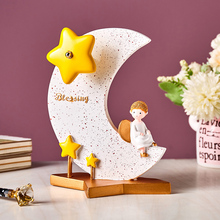 Cute Resin Moon And Star Model Music Box Home Decoration Cre