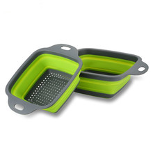 Квадратный дуршлаг складной дуршлаг силиконовый кухонный мешок для хранения фруктов и овощная корзина складной фильтр WF6151432
