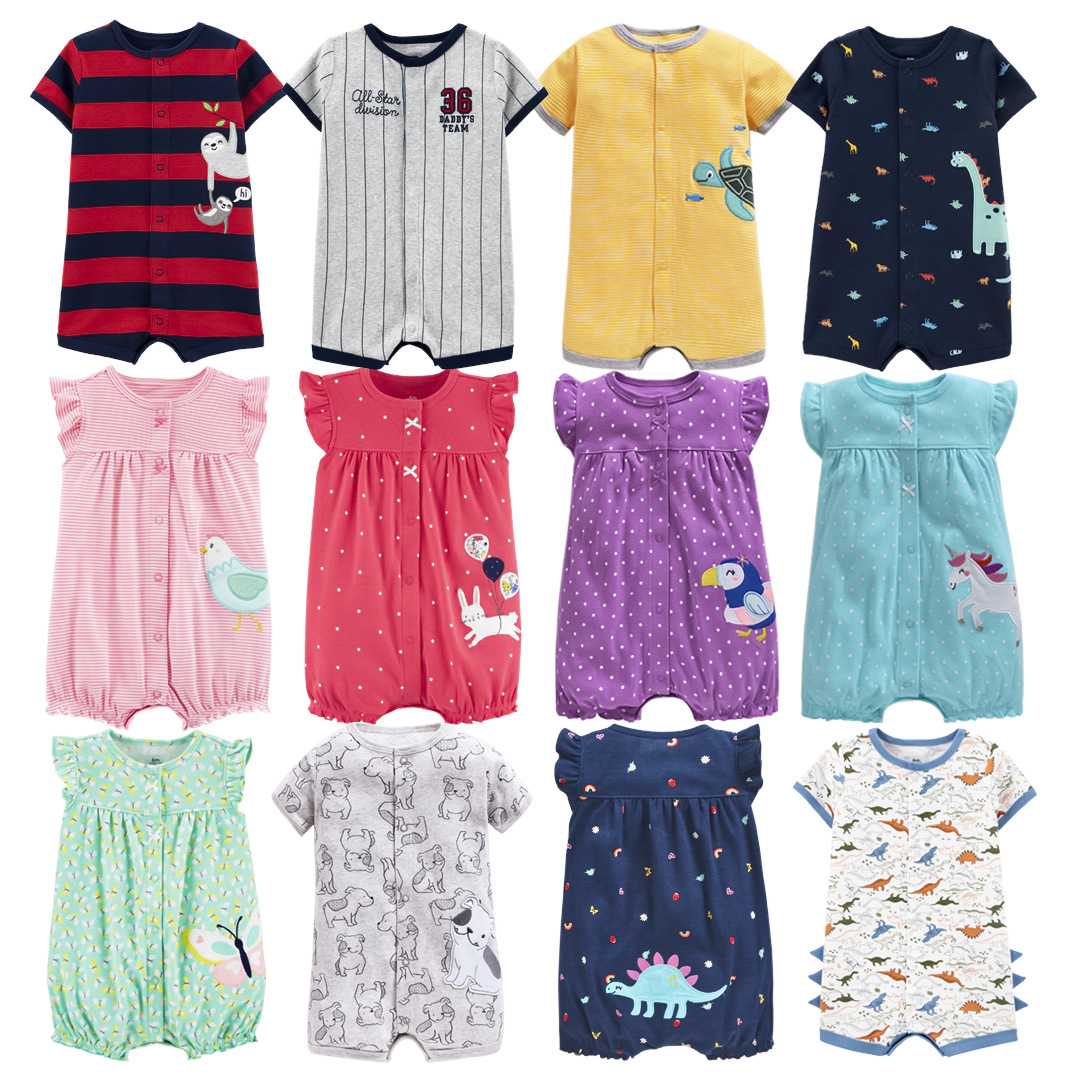 2020 Summer Baby Boys Romper Short Sleeve Rompers Newborn Baby Clothes Cartoon Animal Pajamas For Baby Girl Infant Clothing
