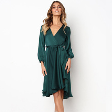 2019 Boho Style Summer Casual Dresses Fashion Women Long Sleeve V-neck Solid Color A-line Party Dress Sundress Bow Tie Vestidos