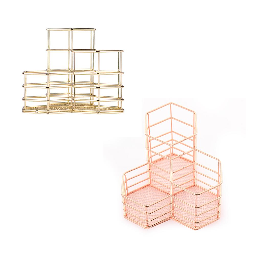 Makeup Brush Holder Hexagon Vase Metal Mesh Basket Desk Organizer Wire Golden Pen Pencil Hot Hollow Holder Makeup Tools