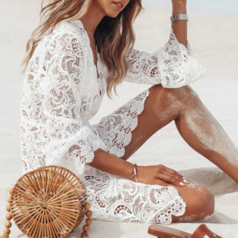 بلوزة صيفية للشاطئ ملابس علوية نسائية بكيني سترة بكيني من الدانتيل سترة كروشيه مزودة بشراشيب ملابس سباحة