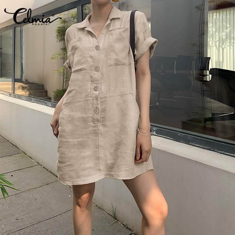 Fashion Shirt Dress 2021 Celmia Women Summer Overalls Sundress Female Lapel Short Sleeve Pockets Retro Mini Vestidos Plus Size 7