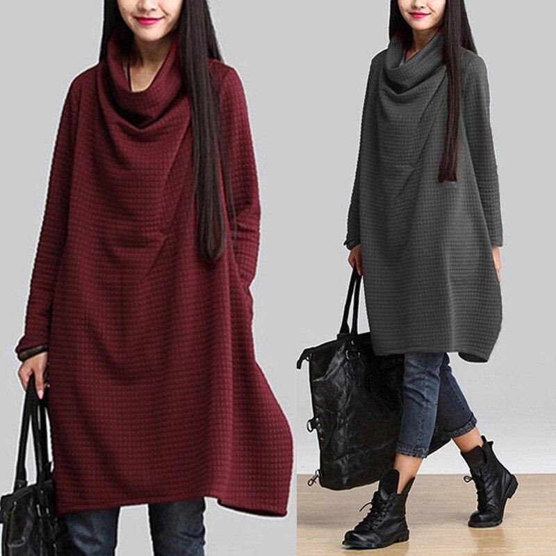 Vintage Turtleneck Hoodies Dress Women Check Sundress ZANZEA 2019 Autumn Long Sleeve Sweatshirt Vestido Female Casual Shirt Robe