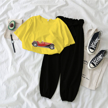 2020 summer women two piece set top & pants casual Korean 2piece outfits female Printed Sports car Tshirt suit Kawaii girl sets