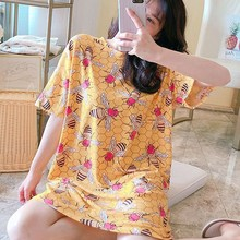 New Large Size Women Nightdress Cute Female Summer Spring Autumn Thin Section Loose Home Service Nightgowns new pyjamas women s summer mesh double layer solid color lace princess short sleeved nightdress large size home service d180111