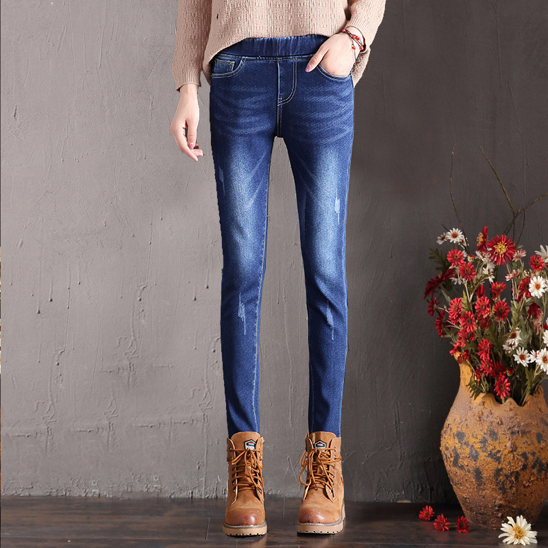 Autumn & Winter Brushed And Thick Jeans Women's Elastic Waist Elasticity Slimming Skinny Pencil Pants Korean-style Outer Wear WO