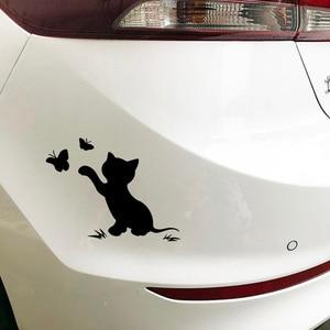 Image 5 - 16.8cm*12.9cm Cat Butterfly Fashion Decor Car Sticker Vinyl Decal Black/Silver S3 6153
