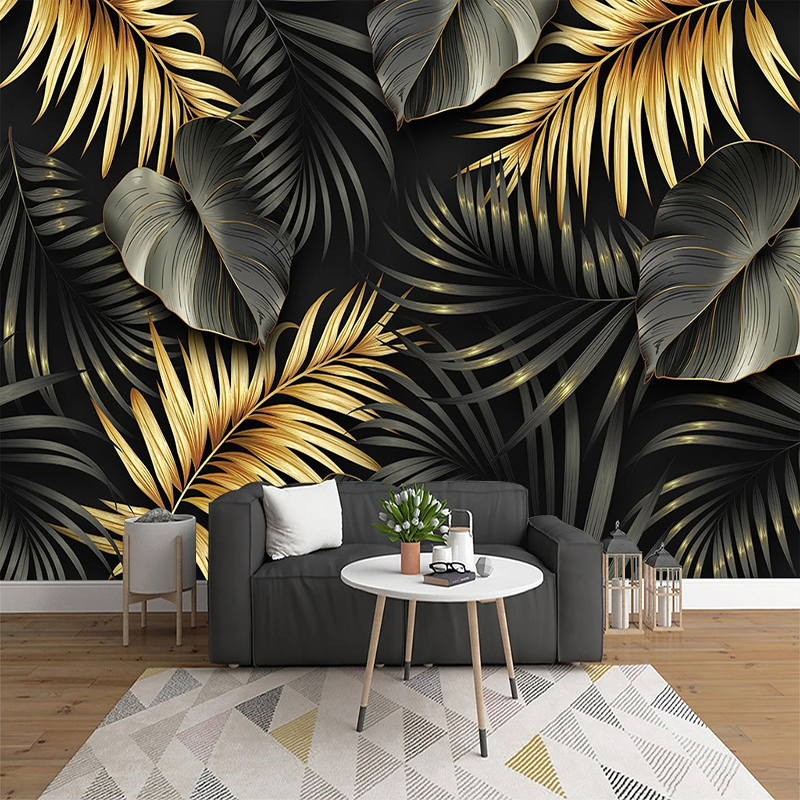 Custom Mural Wallpaper Nordic Hand-painted Tropical Plant Leaf Lines Wall Painting Living Room Bedroom Luxury Home Decor Fresco