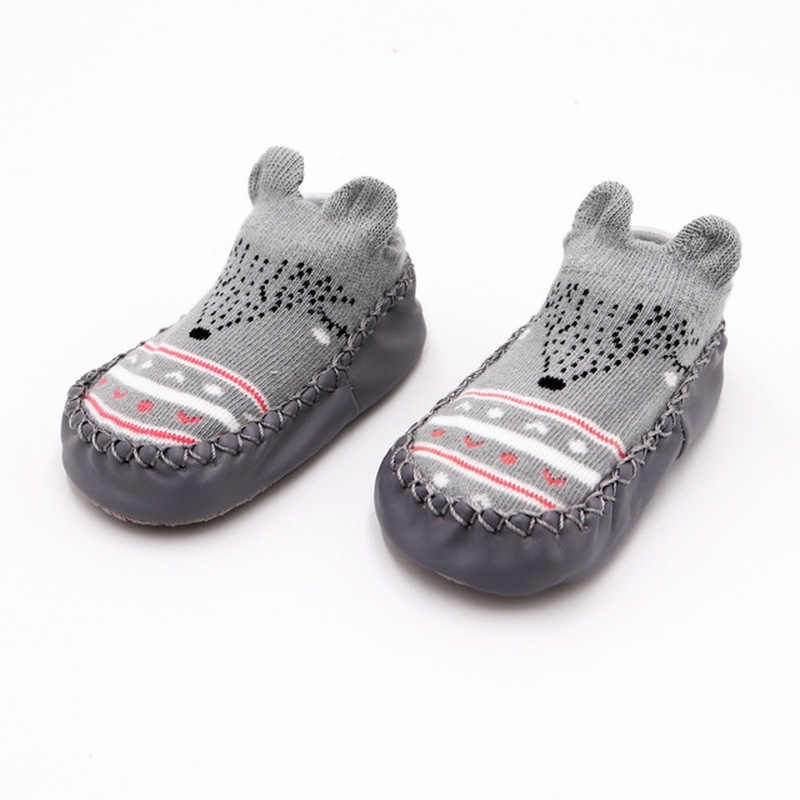 2019 г. Модные детские носочки с резиновой подошвой, носки для младенцев осенне-зимние детские носки-тапочки для новорожденных нескользящие носки с мягкой подошвой