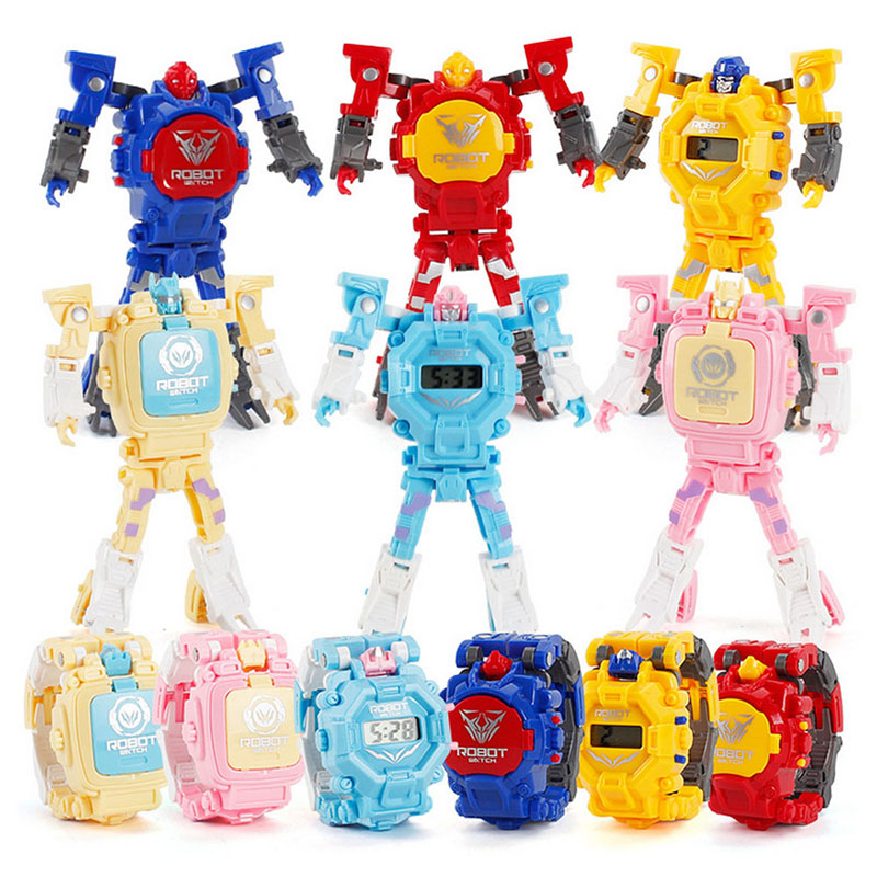 Kids Robot Transformation Wristwatch Toy Mecha Robot Electronic Watch Children Sports Cartoon Watches Kids Birthday Gifts