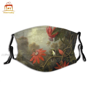 Adult Fashion Hummingbird And Passionflowers Facial Mask Protective Cool Designs Polyester Face Mouth Mask With Filters image