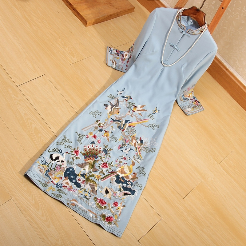 Chinese Style Women Qipao Dress Autumn Royal Embroidery Hundred Birds Vingtage Elegant Lady Luxurious Cheongsam Dress S-XXL