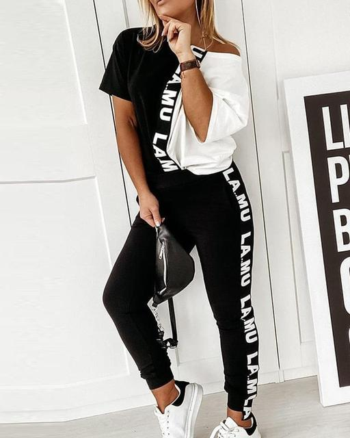 Summer 2 Piece Set Women Lounge Wear Femme Two Piece Lounge Sets Short Sleeve Loose Tops And Pants Black White Patchwork Outfits
