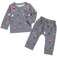 FAutumn Children Infant Baby Girls Boys Long Sleeve Round Neck Christmas Cartoon Print T-Shirt Tops+Pants Trouser Costume Set cartoon tattoo man print round neck long sleeve t shirt