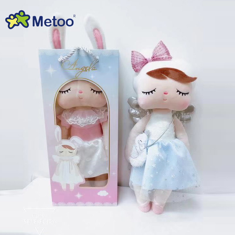 2020 Metoo Curly Angel Plush&Stuffed Sweet Rabbit Cute Animals For Kids Toys Angela Doll For Girls Birthday Christmas Gift Dress