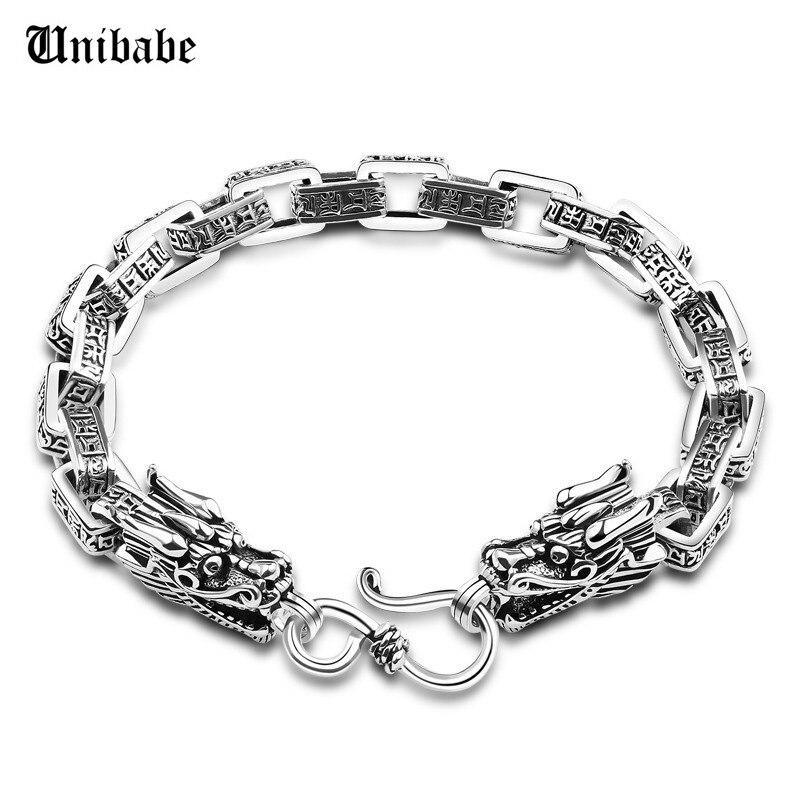 Argent pur 925 argent massif sculpté bouddha Lection lien chaîne tête de Dragon S925 Bracelet main chaîne