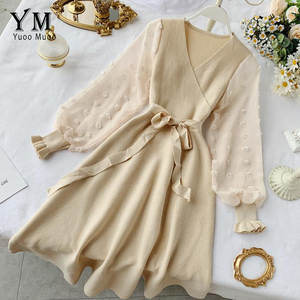 Image 2 - YuooMuoo Romantic Women Knitted Pink Party Dress 2020 Fall Winter V Neck Elegant Chiffon Long Sleeve Sashes Dress Ladies Dress