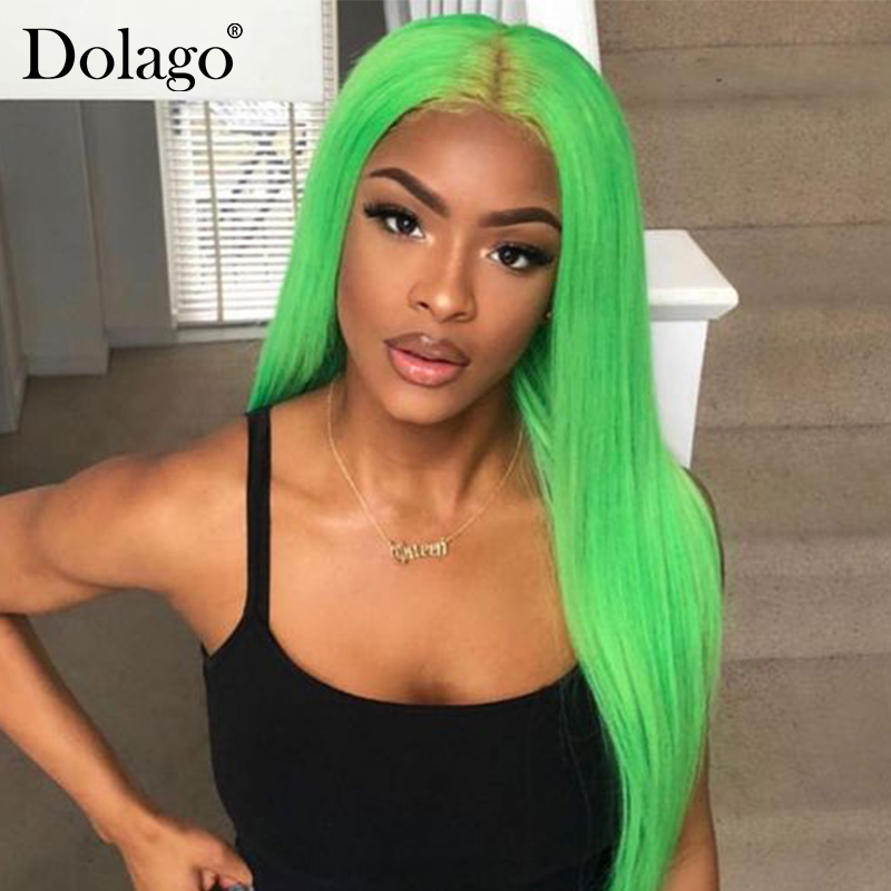 Green Straight Lace Front Human Hair Wigs Brazilian Wig Human Hair For Woman Pre Plucked Dolago Colorful Wig Remy