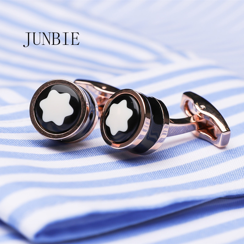 JUNBIE Luxury Shirt Cufflinks For Men's Brand Cuff Buttons Cuff Links High Quality Round Wedding Jewelry Free Shipping