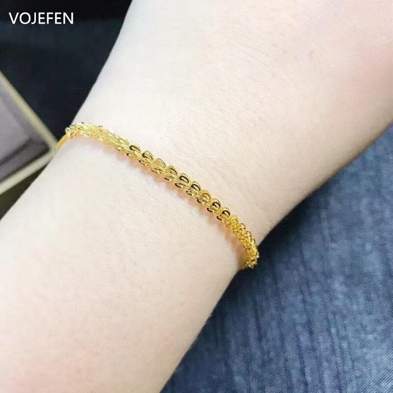 VOJEFEN 18k Solid Gold Bracelet for Women Girl Boho Beach Charm Adjustable...