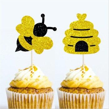 10Pc pszczoła Cupcake ozdoba na wierzch tortu na dekoracje na baby shower urodziny na przyjęcie do tortu przybory do dekoracji diy kreskówka zwierząt deser decor-s