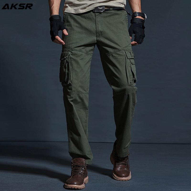 Men's Cotton Cargo Pants Casual Loose Style Straight Leg Cargo Pants for Men Oversized Military Tactical Pants Trousers Men 2020