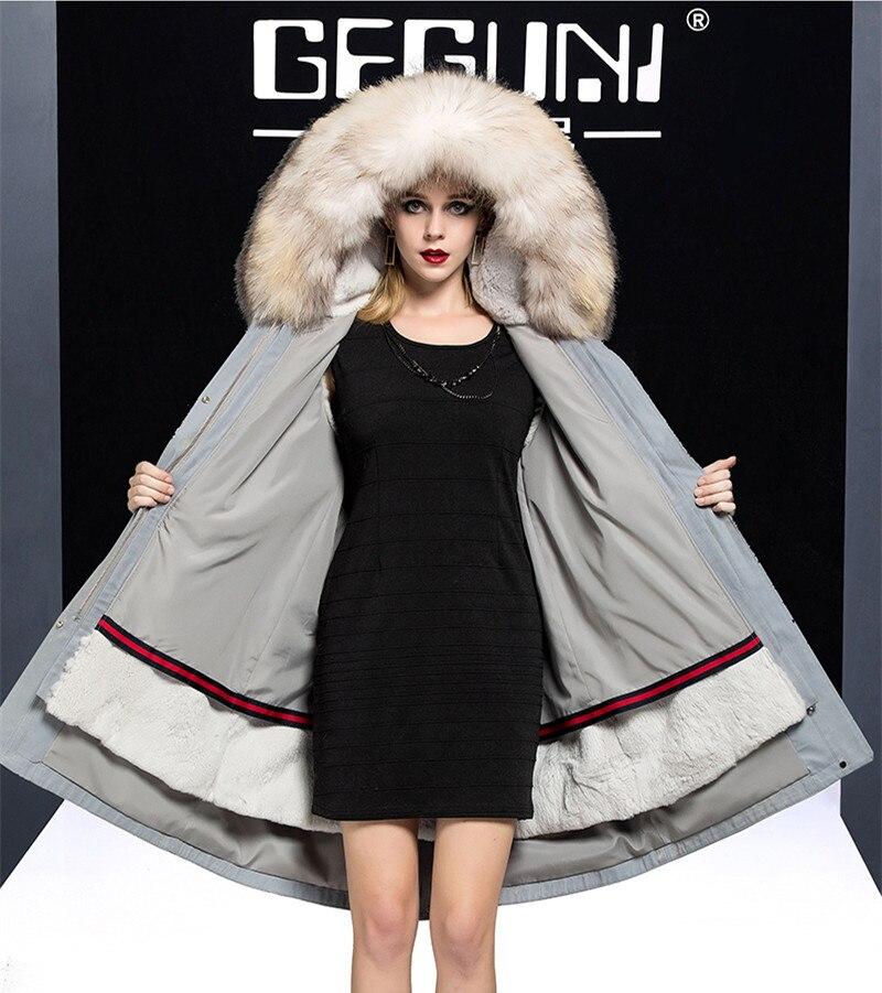 Fur Real 2020 Coat Female Real Rabbit Fur Liner Parka Winter Jacket Women Raccoon Fur Collar Korean Long Jackets MY4010 S