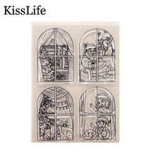 Windows Christmas Tree Santa Claus Kids Cats Clear Rubber Stamps for Scrapbooking Card Making Christmas Birthday Album Decors(China)