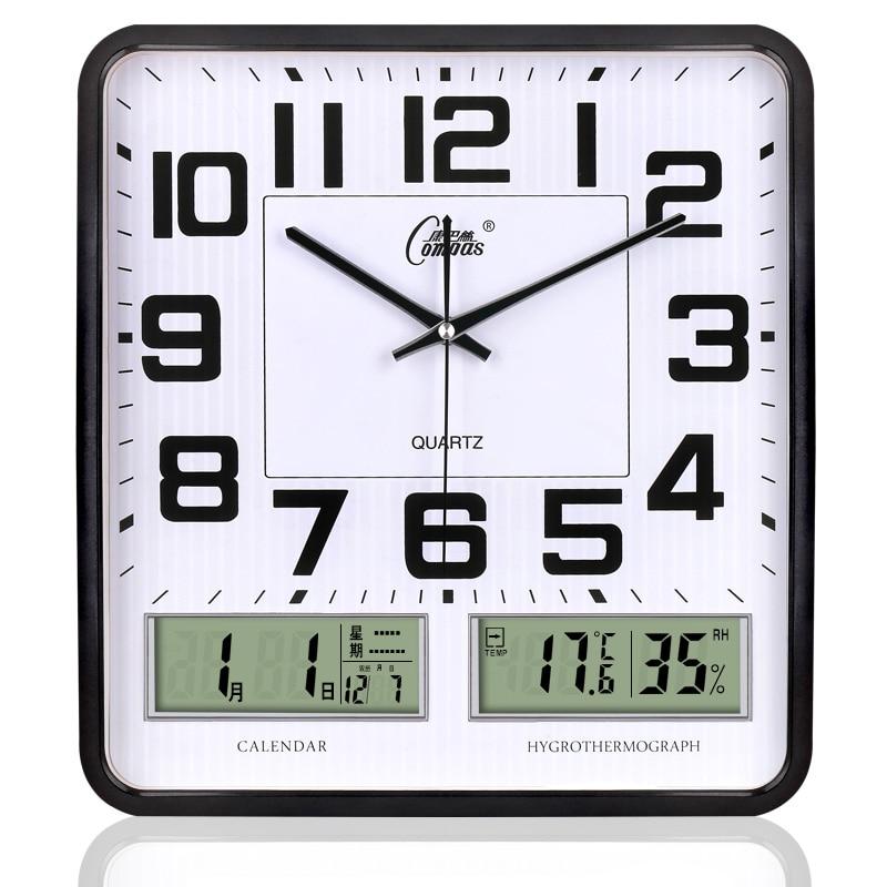 Square Led Wall Clock Silent Living Room Clock Modern Week Temperature Humidity Clocks Atmospheric Calendar Reloj Decor SC266