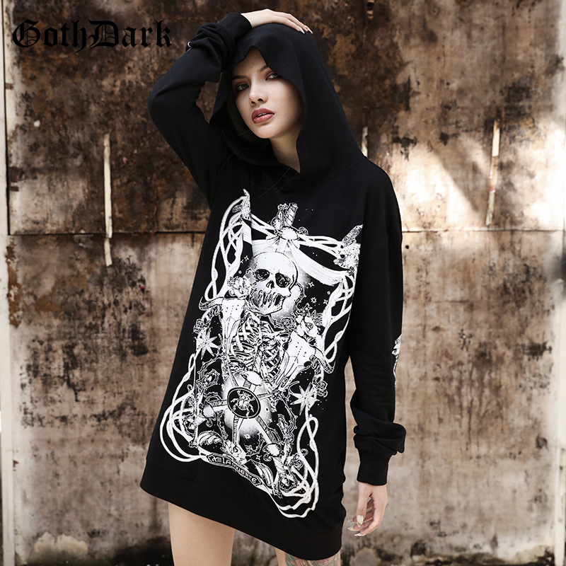 Goth Dark Print Grunge Gothic Sweatshirt Women Harajuku Vintage Punk Autumn 2019 Female Hoodies Longesleeve Aesthetic Fashion