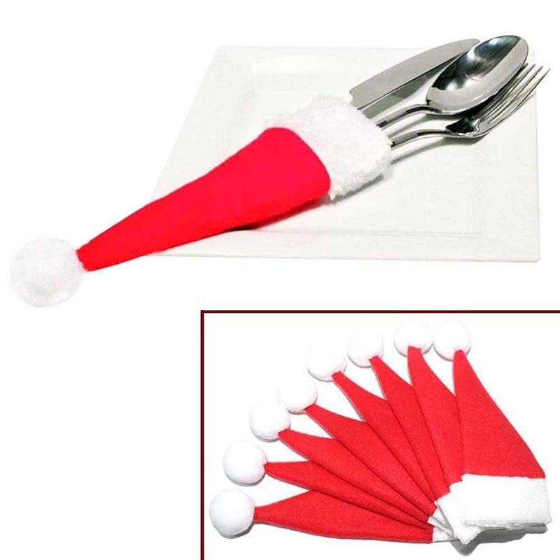 10pcs Christmas decorations for home mini cap tableware Cutlery holder bags christmas hat navidad natal christmas table decor