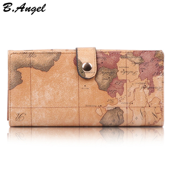 цена на Women World Map Leather Wallets Men Credit Card Passport Wallets and Purses Long Design Travel Wallet Coin Purse Clutch Purse