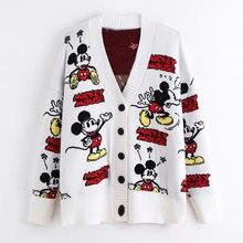 Branco vermelho malha camisolas disney mickey mouse cardigans topos botão manga longa blusas senhora do escritório casual feminino roupas