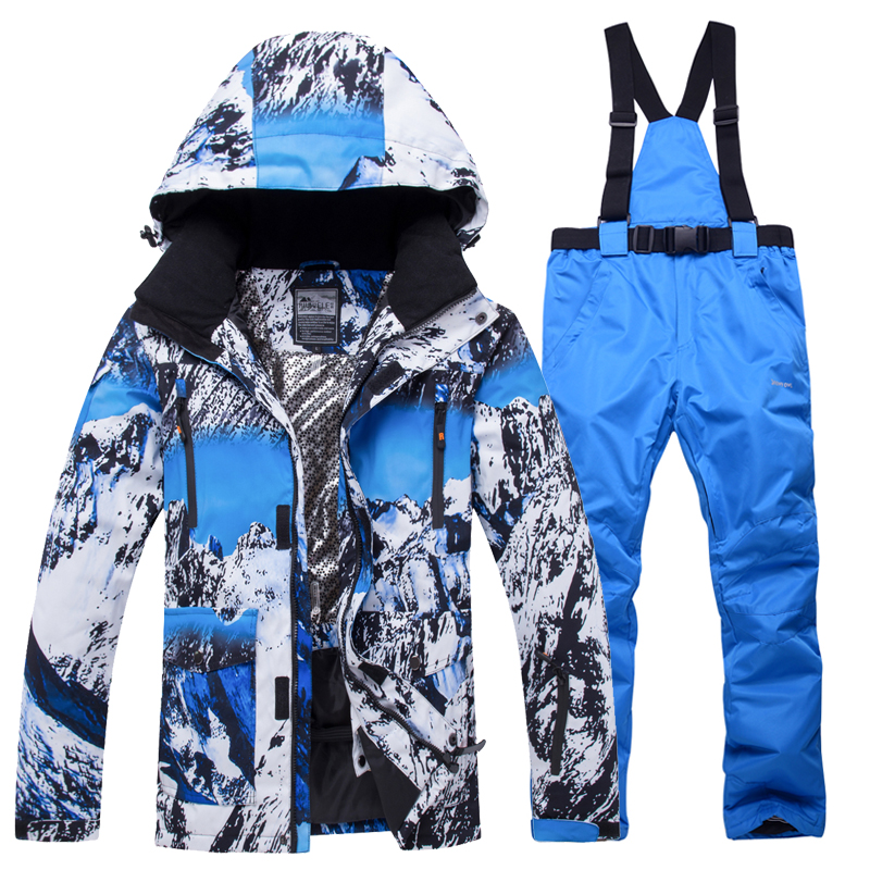 Image 5 - 2019 New Winter Men Thermal Ski Suit Male Windproof Waterproof  Skiing and Snowboarding Sets Jacket Pants Suit Snow CostumeSnowboarding  Sets