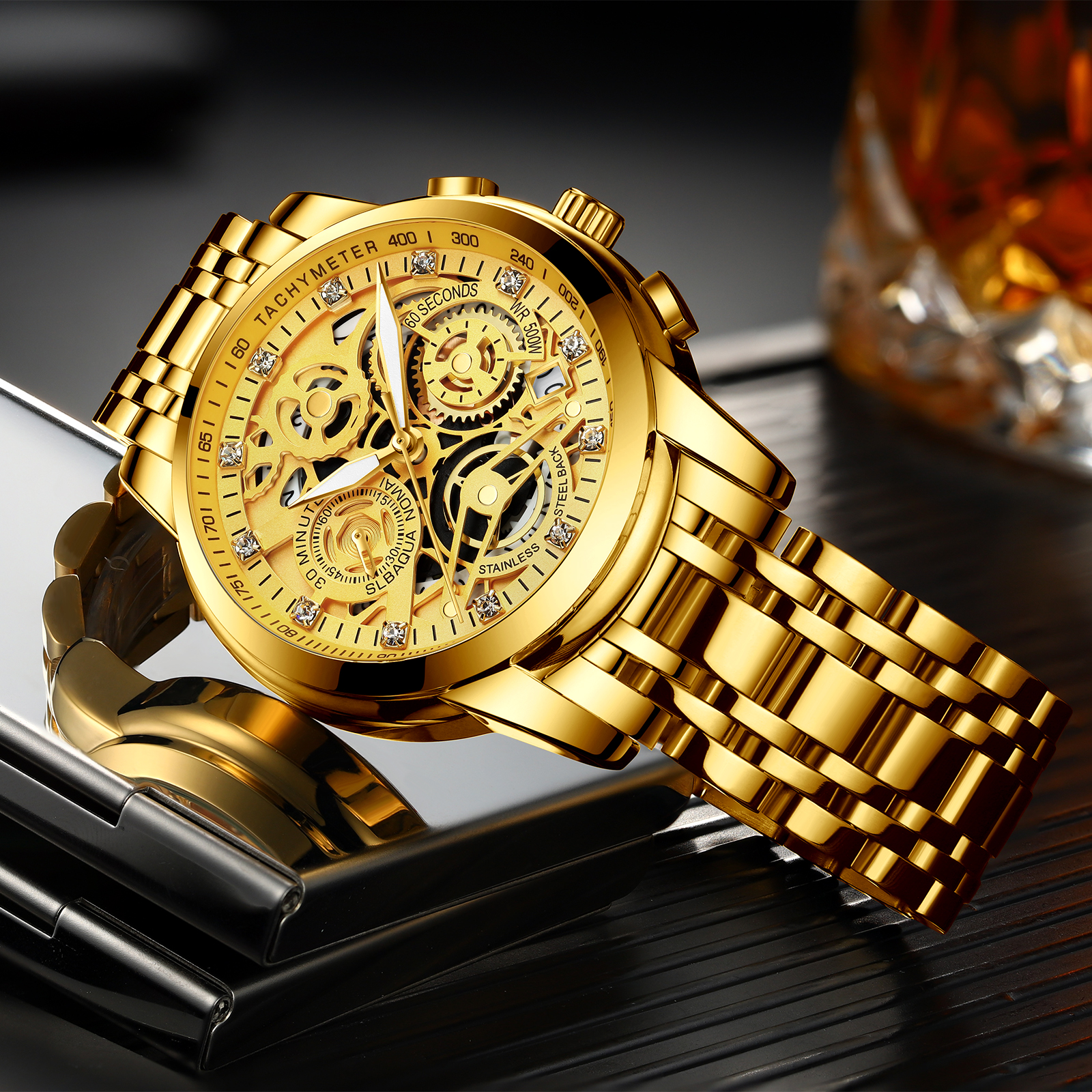 NEKTOM Wrist Watches Men Top Brand Luxury Golden Chronograph Mens Watch Gold Big Dial Man Wristwatch Relogio Masculino