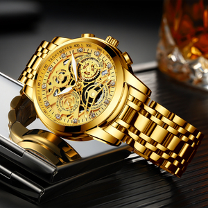 Image 1 - NEKTOM Wrist Watches Men Top Brand Luxury Golden Chronograph Mens Watch Gold Big Dial Man Wristwatch Relogio Masculino