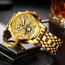 Часы наручные NEKTOM мужские с хронографом, брендовые роскошные золотистые с большим циферблатом