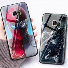 Luxury Marvel Glass Phone Case For Samsung Galaxy S6 S7 S8 Plus Edge S8 S9 Note8 Iron Man Spiderman Cartoon Hard Coque Cover(China)