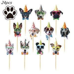 24 шт., милые собаки, топперы для тортов, украшение для дня рождения, выбор тортов, выбор домашних животных, выбор кексов для свадьбы, детский д...