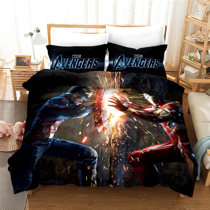 2019 new marvel iron man captain america 3d bedding set adult boy children room decor duvet covers pillowcases bedclothes