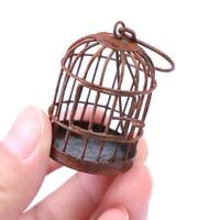 1pc Neue Ankunft 1:12 Metall Vogel Käfig Mit Vogel Vogelkäfig Puppenhaus Miniatur Gold Ton| |   -