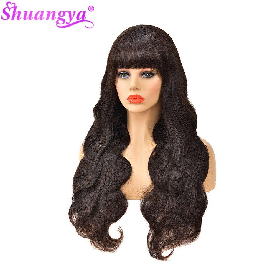 Indyjski ciało fala ludzki włos peruka z Bang 180 gęstość 100% Remy ludzki włos peruki z Bang pełna maszyna wykonana peruka Glueless