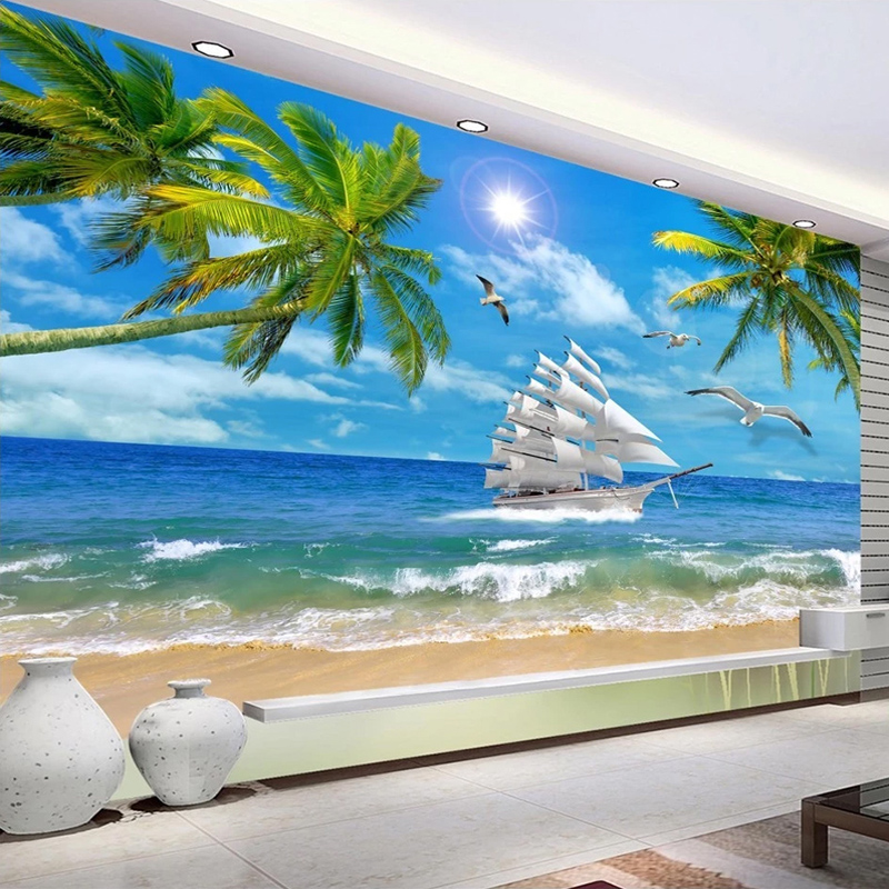 Beach Coconut Tree Sea View Custom 3D Photo Wallpaper Murals For Living Room Bedroom Wall Decoration Mural Papel De Parede 3D
