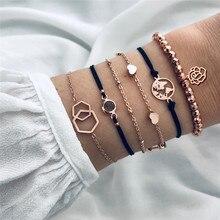 VAGZEB 6 Pcs/ Set Gold Color Geometric Map Heart Bracelets Multilayer Chain Black Stone Bracelet For Woman Fashion Jewelry