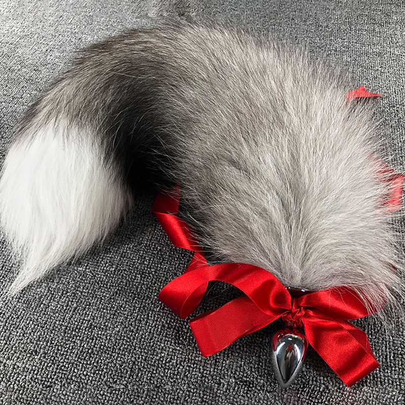 Fox Tails Anal Plug Anal Sex Toys Big Real Silver Fox Tails Metal Butt Plug Couple Erotic Cosplay Wolf Tail Drop Shipping
